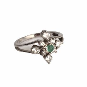 Vintage Emerald Faux Diamond Ring Sterling Silver